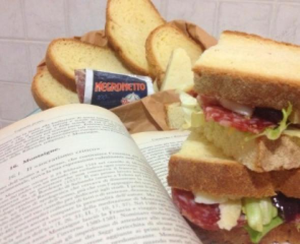 Pane a fette con salame, lattuga e pecorino