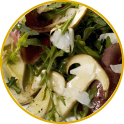 Winter salad with bresaola and mushrooms