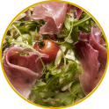 Potato Pizza with Culatello and Rocket