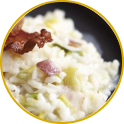 Leek and crisp pancetta risotto with cooked ham