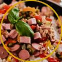 Reissalat mit Salame und knackigem Gemüse