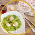 Involtini di rana pescatrice e Pancetta di Zibello su crema di asparagi, ricetta