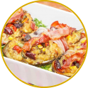 Aubergine filled with sausage and pancetta