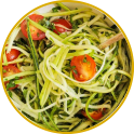 Courgette noodles with breast of chicken