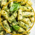 Pasta mit Pistazien-Pesto und Speck