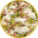 Vegetable flan with cooked ham