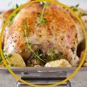 Roast chicken stuffed with chopped pancetta