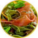Tagliatelle with cured ham and basil