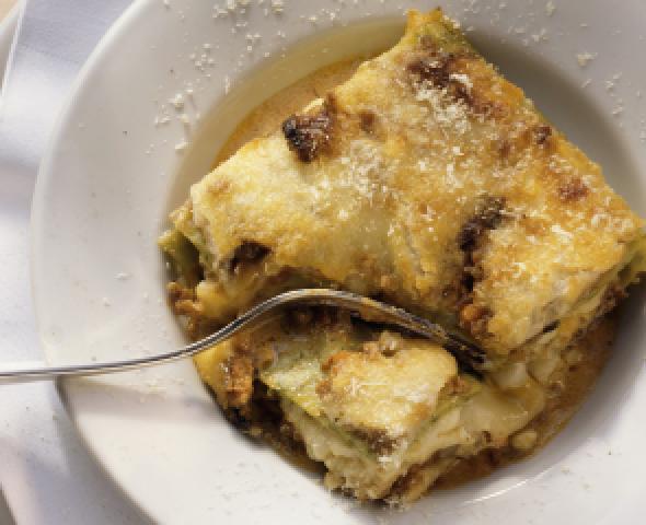 Lasagne aux epinards, a la ricotta et a la saucisse