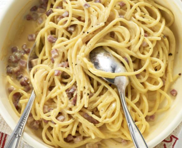 roman style spaghetti alla carbonara recipes dishmaps roman style