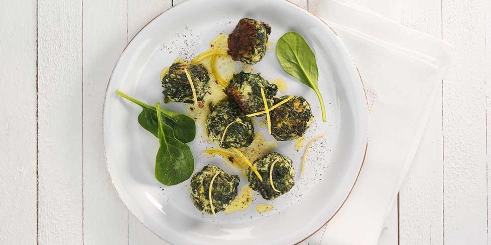 Gnocchetti di spinaci e ricotta con prosciutto cotto