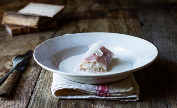 Cannellone di riso e Gran Cotto su crema di Parmigiano