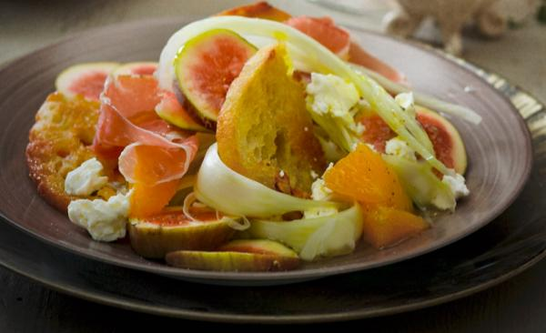 Insalata finocchi, arance e cubetti di cotto la ricetta