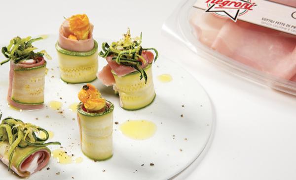 Roll di zucchina e prosciutto cotto con cream cheese