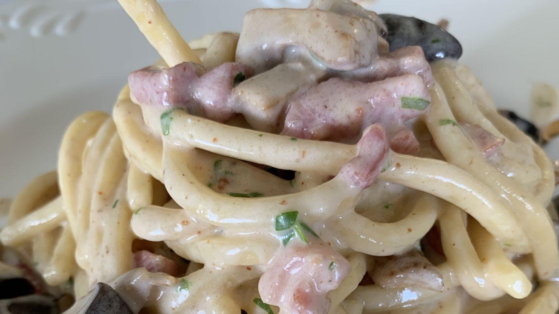 Troccoli con Panna, carciofi, funghi e Cubetti di Pancetta Negroni
