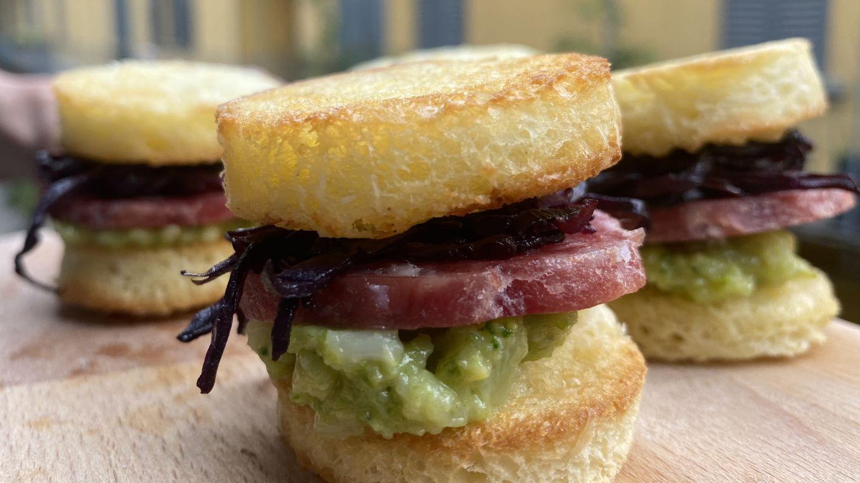 Mini sandwich con salame Negronetto e broccoletti senapati