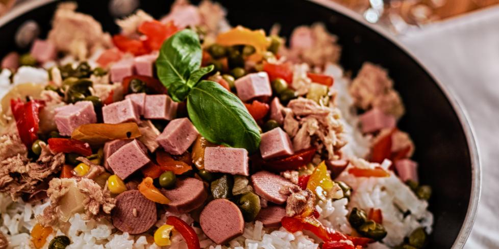 Golosino Frankfurter Sausage And Crunchy Vegetable Rice Salad Negroni