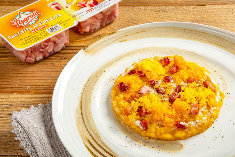 Risotto alla zucca con pancetta e fonduta al pecorino