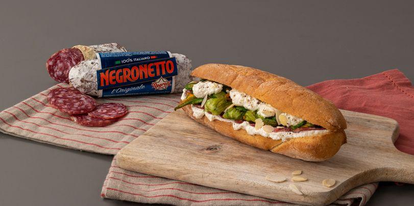 Sandwich Negronetto, ricotta e fiori di zucca